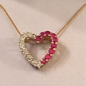 Beautiful Ruby Heart Necklace